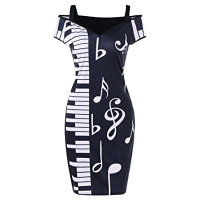BSGSH Women's Elegant Cut Out Cold Shoulder Music Note Printed Office Work Business Bodycon Pencil Dress
