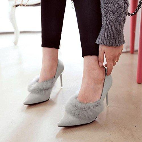 L@YC Zapatos De TacóN alto De La Mujer De Primavera Y Conejo De Invierno De Conejo MáS Cachemira Punta De La Oficina De Discoteca Dance Gray
