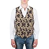 Vest, Gilet, Waistcoat, Knitwear, Men, Boy, Brown, Camel, Army, Camo, Camouflage, Wool, Buttons, Pockets, Casual, Sporty, Sleeveless, Slimfit, Italian Fabric, Italian Style, Made in Italy, Handmade