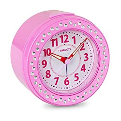 FAMICOZY Melody Alarm Clock with 6 Wake-up Sounds,Silent Non Ticking Alarm Clock for Girls Teens Kids,Snooze and Nightlight,Analog Alarm Clock for Bedside Nightstand,Battery Operated,Pink