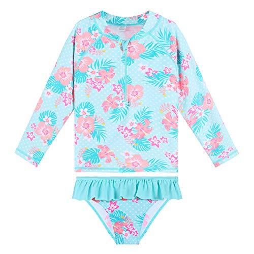 HUAANIUE Girls 2 Pieces HotPink Longsleeve Swimsuit Summmer Print Flower Sun Protection Suit