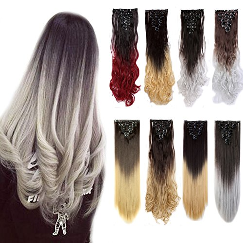 Clip in Hair Extensions Ombre Dip Dye Color Synthetic Full H
