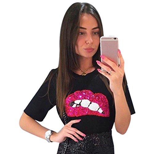 Moda Paillettes Corta Nero Manica WanYang shirt Donna Camicetta Maglietta Labbra Stampa Girocollo A T Estate HZwq7R