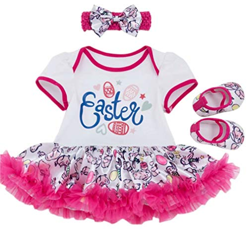 Baby Girl Easter Day Colorful Eggs Printed Tulle Tutu Dress Headband Shose 3PCS Outfits Set Size 0-3Months/Tag 59 (White) ()