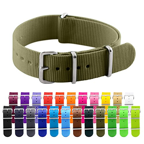 Clockwork Synergy Classic Nylon Nato watch straps bands (20mm, Army Green)