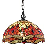 """Amora Lighting Tiffany Style Hanging Pendant Lamp 14"""" Wide Stained Glass Red Dragonfly Jewels Antique Vintage Light Decor Restaurant Game Living Dining Room Kitchen Gift AM1034HL14B, Multicolored"""