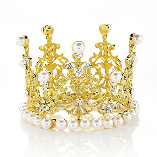 JANOU Crown Tiara Cake Topper Crystal Pearl Children