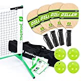 Pickle-Ball, Inc. Pickleball Diller Tournament Net Set (Set Includes Metal Frame + Net + 4 paddles + 4 balls + Rules Sheet in Carry Bag)
