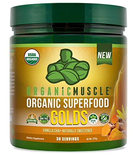Certified Organic Superfood Golds Powder | Tumeric Golden Milk Blend of 12 Superfoods for Detox, Deeper Sleep, Relaxation & Recovery | Vegan, Keto, Non-GMO | Vanilla Chai | 30 Serv | ORGANIC MUSCLE