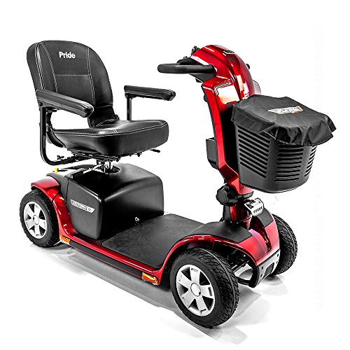 (Victory 10.2 Red Pride Mobility 4-Wheel Electric Scooter S7102 + Front Basket Bag)