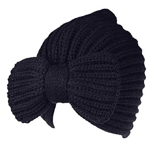 Dressin Women s Bowknot Hat Knit Ear Protect Beanie Hats Cashmere Chunky  Slouchy Skull Keep Warm Winter 353890c3f6