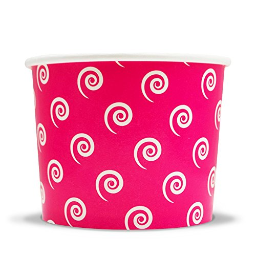 Pink Easter Paper Ice Cream Cups - 12 oz Swirls and Twirls Dessert Bowls - Perfect For Your Yummy Foods! Many Colors & Sizes - Frozen Dessert Supplies - Fast Shipping! 1,000 Count
