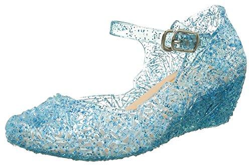 URAQT Ballerines Bleu pour Enfant Petite Fille Déguisement Princesse Reine Neiges Chaussures