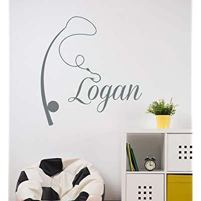 Wall Decal Vinyl Sticker Decals Home Decor Art Murals Custom Personalized Name Fishing Rod Nautical Baby Boy Nursery Bedroom aa372: Home & Kitchen