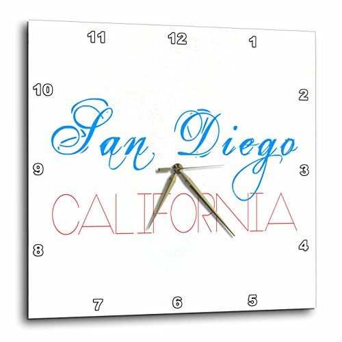 3dRose Alexis Design - American Cities - American Cities - San Diego California red and blue on white - 10x10 Wall Clock - San Outlet Diego California