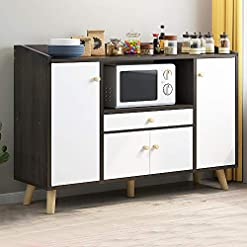 Kitchen Menaka-US Kitchen Unit Storage Cabinet Sideboard Cupboard and Buffet Table with Microwave Shelf Door and Drawers Wooden… modern buffet sideboards