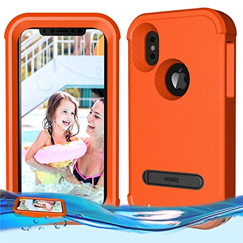 (Temdan iPhone X/iPhone Xs Floating Case Shockproof Lifejacket Case Designed Flaoting on Water Kidsproof Case for iPhone X/XS 2018 (5.8inch) -Orange)