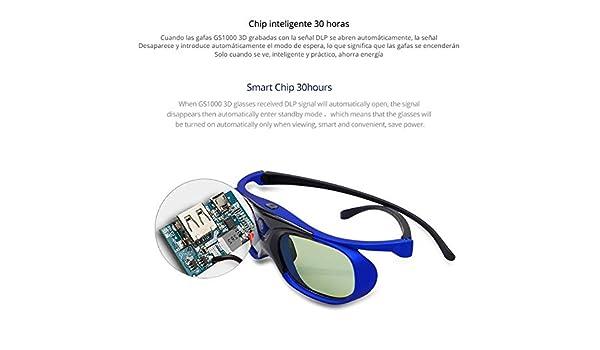 MeterMall Obturador Activo 3D Gafas DLP Proyector Batería ...
