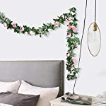 G-Tree-2pcs-Artificial-Flowers-804-FT-Fake-Plastic-Fabric-Silk-Artificial-Rose-Flower-Wisteria-Ivy-Hanging-Vine-Garland-for-Home-Wedding-Table-Decoration-Dark-Pink