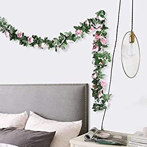 G-Tree 2pcs Artificial Flowers 8.04 FT Fake Plastic Fabric Silk Artificial Rose Flower Wisteria Ivy Hanging Vine Garland for Home Wedding Table Decoration (Dark Pink) 7