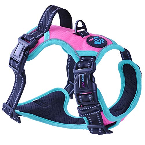 (PHOEPET 2019 Upgraded No Pull Dog Harness,3M Reflective Adjustable Vest, with a Training Handle + 2 Metal Leash Hooks+ 3 Snap Buckles +4 Slide Buckles(L, Pink))