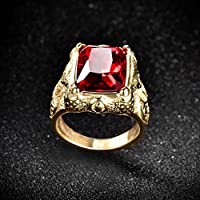 TheoneJewelry Mens Gold Stainless Steel Princess Red Garnet Signet Gemstone Band Ring Jewelry (10)