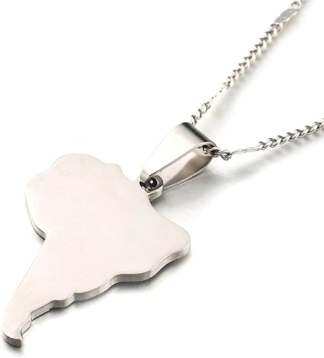 Stainless Steel Map Of South America Necklace Pendants Trendy Chain Jewelry
