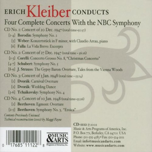 Erich Kleiber Conducts 1947-48 NBC Concerts (Beethoven, Borodin, Schubert, Tchaikovsky, Corelli, Weber, Strauss, Dvorak, Falla) by Music & Arts Programs