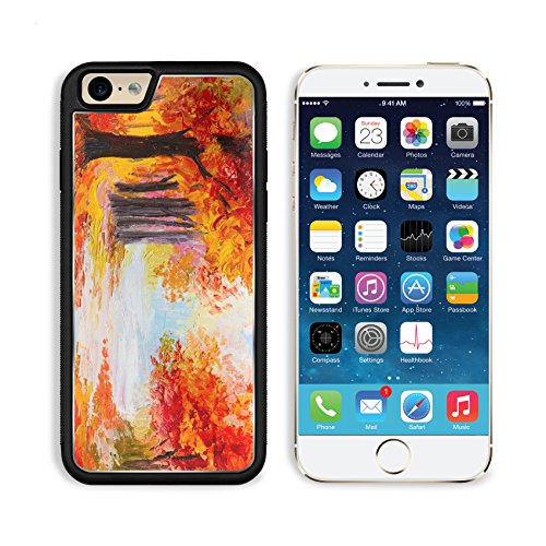 Apple iPhone 6 6S Aluminum Case Oil painting landscape colorful autumn forest Abstract paint IMAGE 32914952 by MSD Customized Premium Deluxe Pu Leather generation Accessories HD Wifi Luxury Protector