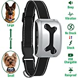 No Barking Control Anti Bark Collar [BEST VALUE/2018 MODEL], Rechargeable / Rainproof / Reflective / 7 Sensitivity / Beep / Vibrate / Safe Shock for Large Medium Small Dogs by PetSentry (Silver, Bone)