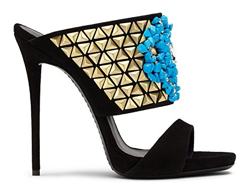 Zapatos de tacón alto sandalias piedras azules altas sandalias de los tacones Black