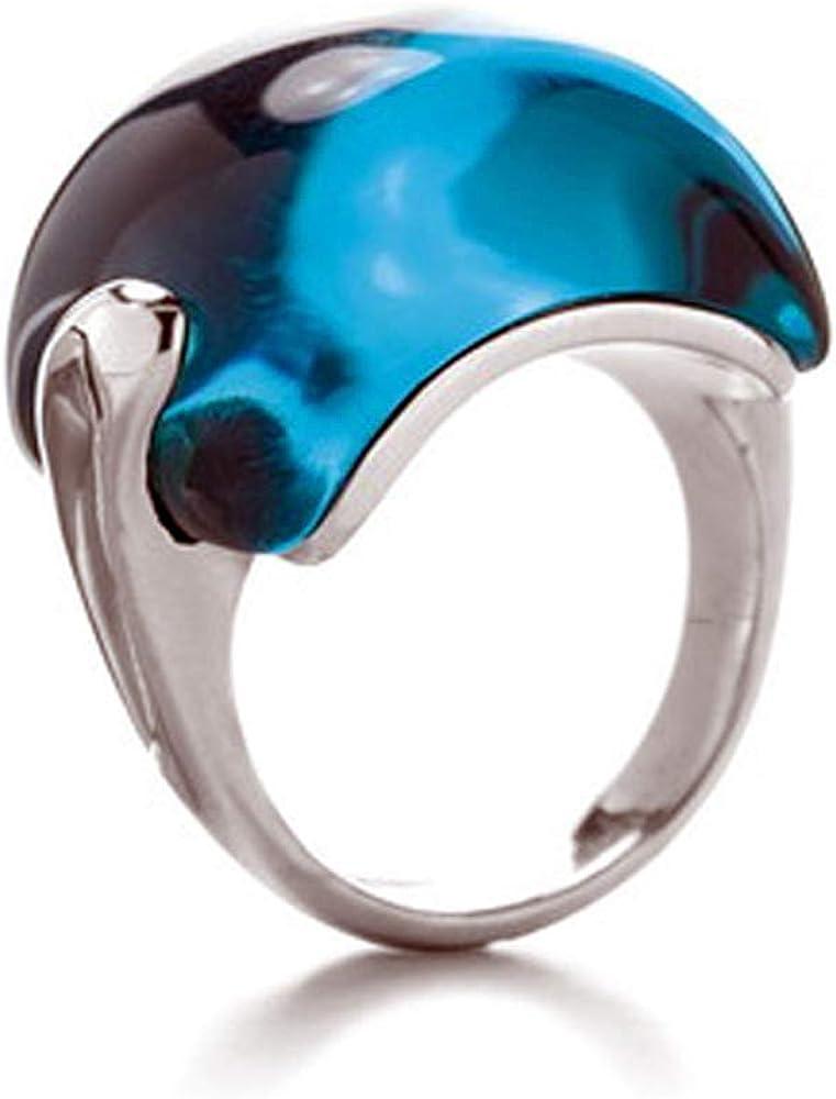 LUXENTER Anillo Plata de Ley Ilanga 532894414 con Piedra Oval Azul Petroleo Calibre 14