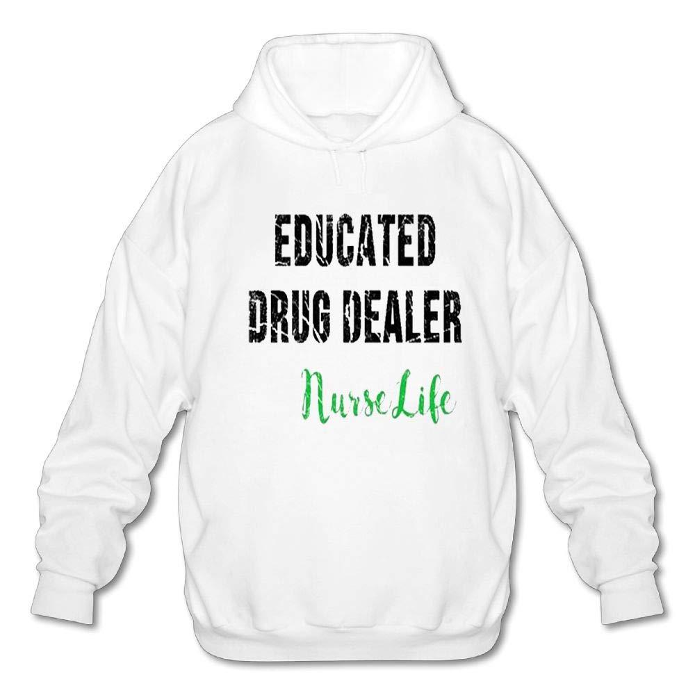Haoshouru Mens Long Sleeve Cotton Hoodie Educated Drug Dealer Nurse Life 6 Sweatshirt