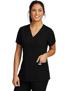 cc93eda9e8a Grey's Anatomy 2-Pocket Mock Wrap Top for Women - Classic Fit Medical Scrub  Top