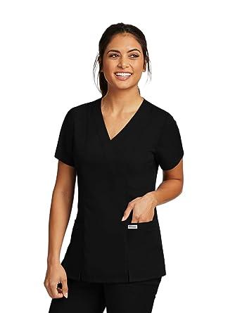 e4afed03997 Amazon.com: Grey's Anatomy 2-Pocket Mock Wrap Top for Women ...