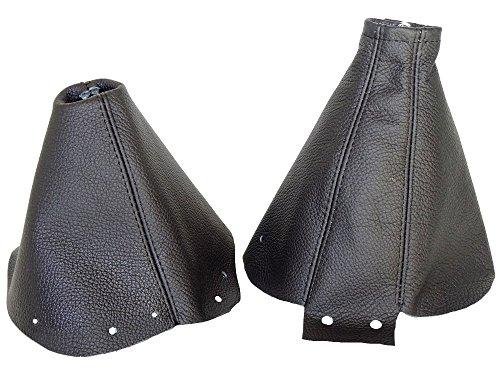 FOR NISSAN 300ZX 1989-2000 SHIFT & E BRAKE BOOT BLACK GENUINE LEATHER