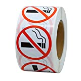 "Hybsk(TM) No Smoking Logo Warning Stickers 1.5"" Round Circle Teacher Labels 500 Total Per Roll"