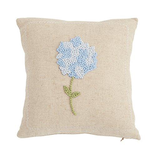 French Hydrangea (Mud Pie 4165050B Linen Hydrangea French Knot Pillow - Blue 9.5