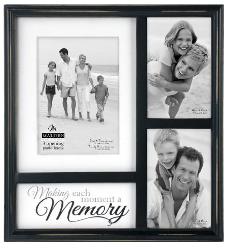 (Malden International Designs Memory Mat Collage Picture Frame, 3 Option, 2-4x6, 1-5x7/7x9, Black)