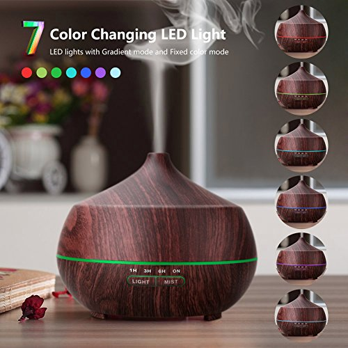 AROVA Aromatherapy Essential Oil Diffuser , 400ML , with Aroma Cool Mist Humidifier , Adjustable Mist Mode , Auto Shut-off , 7 Color Changing LED Light for office home baby - Dark Brown Wood Grain