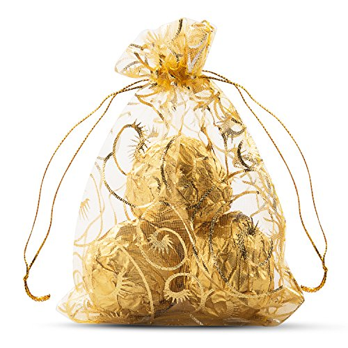 Bag Mesh Gold (VIVOHOME Wheat Fall & Harvest Drawstring Organza Gift Bags Gold 3.5 x 4.8 Inch Pack of 100)