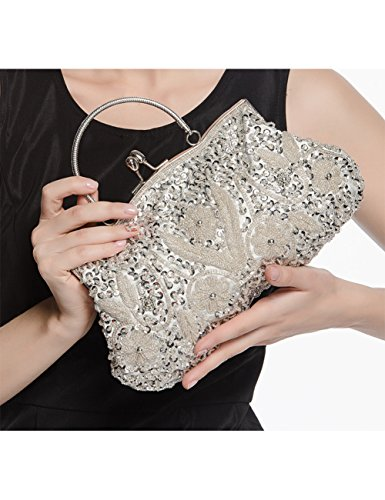 Evening Clutch Sequined Bag Vintage TSRHFGT Green Women Purse Wedding Style Beaded And Handbag Party W1R4pqpc