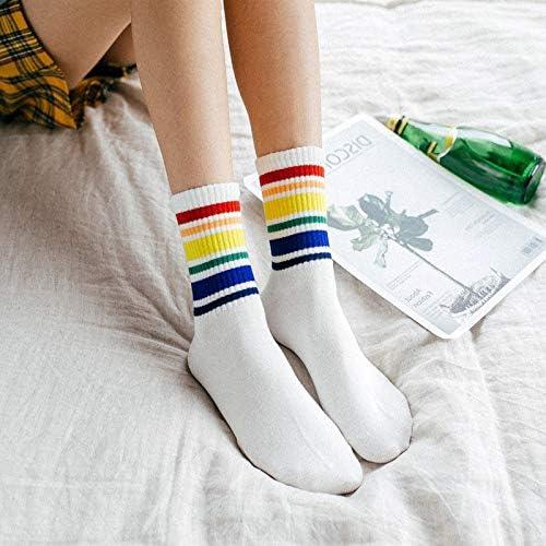 FANZHOU Calcetines largos de algodón con diseño de rayas arcoíris ...
