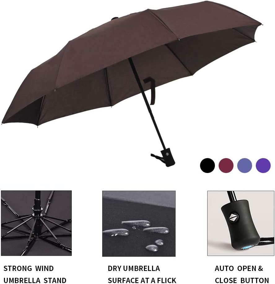 40 x 40 x 24 Light Year Single Layer Foldable Retractable Automatic Umbrella Windproof High-Density Water Resistant Anti-UV Protection Cloth 8 Rib Coffee Brown