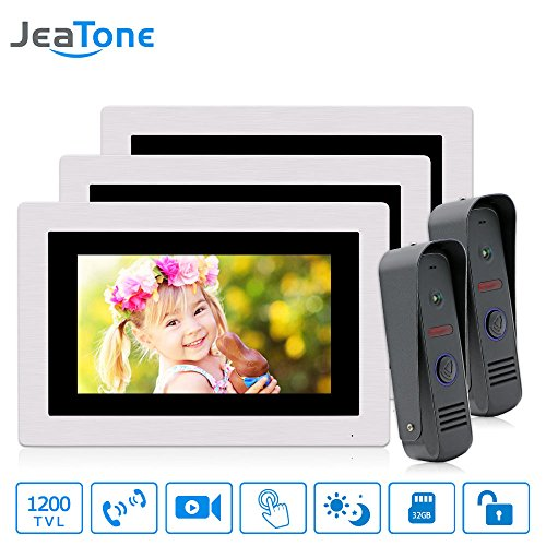 - JeaTone Video DoorPhone Doorbell Intercom,3 pcs 7 inch LCD Monitor for 3 Units Apartment, Built-in Memory, Control Two Locks and Night Version Intercom System 3V2