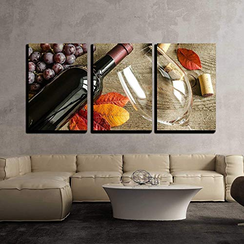 - wall26-3 Piece Canvas Wall Art - Red Wine - Modern Home Decor Stretched and Framed Ready to Hang - 24