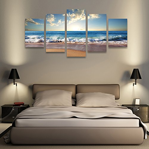 Wall Art Beach Landscape Canvas Painting Canvas Print Art For Wall Decor 5  Piece Framed And Ready To Hang.