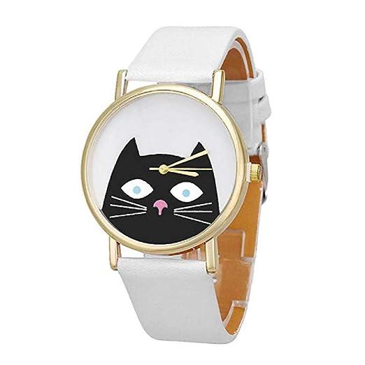 Relojes de Cuarzo para Mujer Patrón Lindo del Gato Exclusivo de Manera analógica Liquidación Relojes para Mujeres Relojes para Mujeres (Blanco): Amazon.es: ...