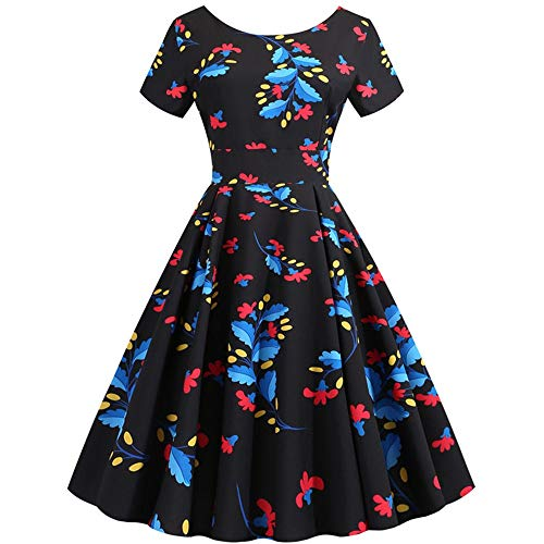 Aniywn Party Swing Prom Dress, Women Vintage Short Sleeve Elegant Floral Print Evening Cocktail Dresses
