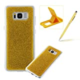 Soft Gel Case for Samsung Galaxy S8,Ultra Slim Flexible Sparkle Rubber Cover for Samsung Galaxy S8,Herzzer Luxury Stylish Yellow Bling Glitter TPU Bumper Silicone Protective Case for Samsung Galaxy S8 + 1 x Free Yellow Cellphone Kickstand + 1 x Free Yellow Stylus Pen
